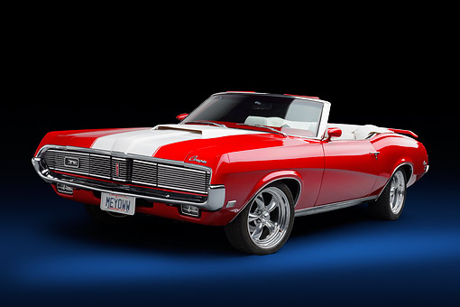 AUT 22 BK0543 01 © Kimball Stock 1969 Mercury Cougar XR-7 Convertible Red And White Low 3/4 Front View In Studio