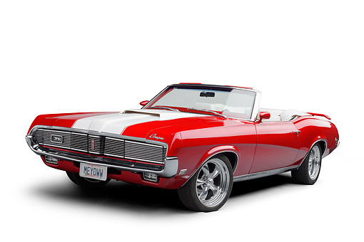 AUT 22 BK0544 01 © Kimball Stock 1969 Mercury Cougar XR-7 Convertible Red And White Low 3/4 Front View In Studio