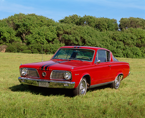 AUT 22 RK0204 02 © Kimball Stock 1966 Plymouth Barracuda Red Front 3/4 View On Grass