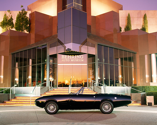 AUT 22 RK0283 03 © Kimball Stock 1967 Ghia Convertible 450 Black Profile By Museum At Night
