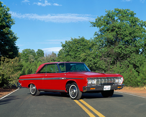 AUT 22 RK0453 07 © Kimball Stock 1964 Plymouth Fury Sport 426 Max Wedge Red 3/4 Side View On Road