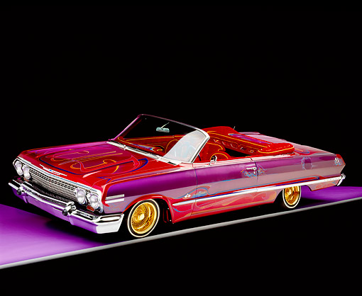 AUT 22 RK1085 03 © Kimball Stock 1963 Chevy Impala Lowrider Brandy Wine And Extreme Rainbow 3/4 Side View On Purple Floor Gray Line