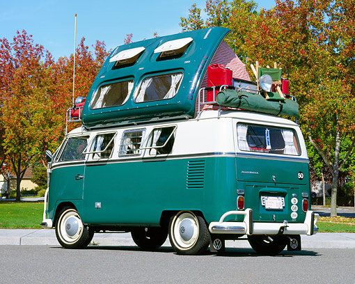 AUT 22 RK1098 03 © Kimball Stock 1967 VW Dormobile Camper Bus Green And White Low 3/4 Rear View On Pavement By Autumn Trees