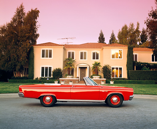 AUT 22 RK1253 04 © Kimball Stock 1965 Dodge Cornet 500 Convertible Red Profile On Pavement