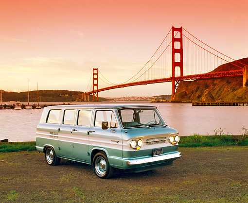 AUT 22 RK1362 22 © Kimball Stock 1965 Chevrolet Corvair Greenbrier Van Teal White Stripe 3/4 Front By SF Bridge Filtered