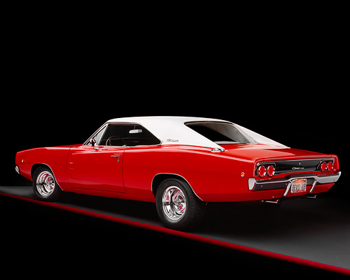 AUT 22 RK1478 01 © Kimball Stock 1968 Dodge Charger Red And White 3/4 Rear View Studio