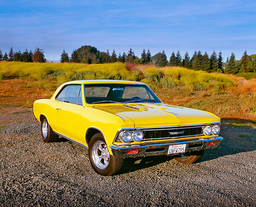 AUT 22 RK1518 05 © Kimball Stock 1966 Chevrolet Chevelle SS Modified Yellow 3/4 Front View On Gravel By Field Of Yellow Flowers