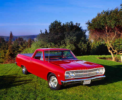 AUT 22 RK1678 02 © Kimball Stock 1965 Chevy El Camino Red Front 3/4 View On Grass By Trees Blue Sky