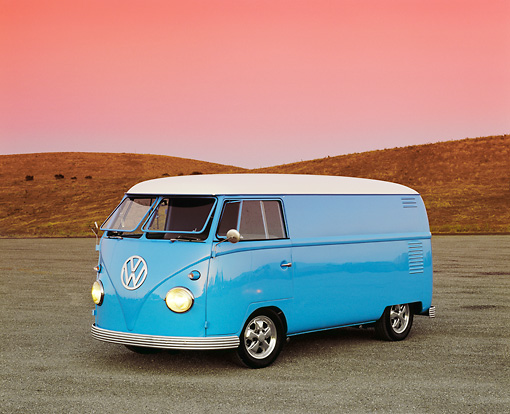 AUT 22 RK1773 01 © Kimball Stock 1962 Volkswagen Custom Bus Light Blue 3/4 Front View On Pavement Dry Grass Hills Filtered