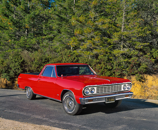 AUT 22 RK1871 02 © Kimball Stock 1964 Chevelle El Camino Red Front 3/4 View On Pavement By Trees
