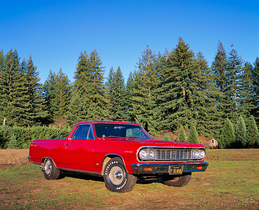 AUT 22 RK1873 02 © Kimball Stock 1964 Chevelle El Camino Red Low 3/4 Front View On Grass Trees Background