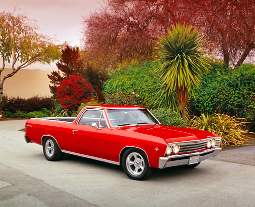 AUT 22 RK1883 03 © Kimball Stock 1967 Chevrolet El Camino Red 3/4 Front View On Pavement By Trees Filtered