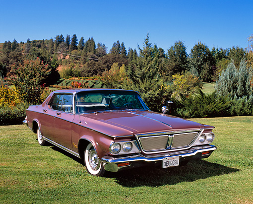 AUT 22 RK2065 01 © Kimball Stock 1964 Chrysler New Yorker Salon Pink 3/4 Front View On Grass By Trees