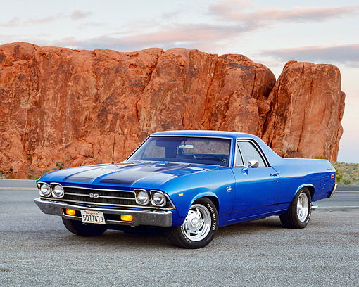 AUT 22 RK2082 02 © Kimball Stock 1969 Chevrolet El Camino SS 396 Blue Black Stripe 3/4 Front View On Pavement