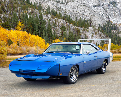 AUT 22 RK2153 03 © Kimball Stock 1969 Dodge Daytona Charger Blue 3/4 Front View On Pavement By Mountain