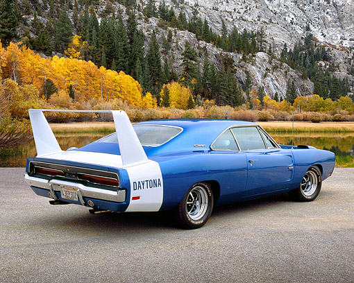AUT 22 RK2156 03 © Kimball Stock 1969 Dodge Charger Daytona Hemi Blue 3/4 Rear View On Pavement By Mountain