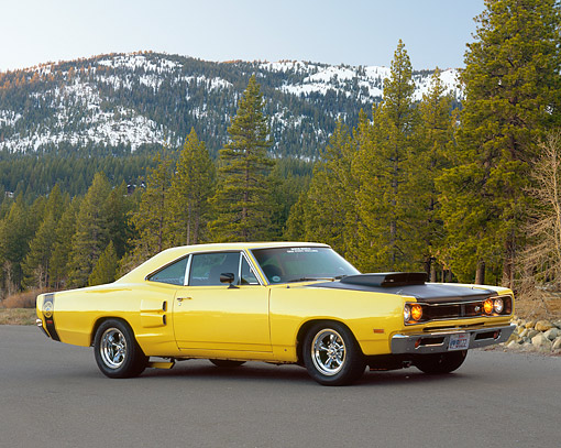 AUT 22 RK2160 04 © Kimball Stock 1969 Dodge Super Bee Yellow And Black 3/4 Side View On Pavement By Trees