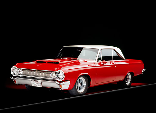 AUT 22 RK2185 08 © Kimball Stock 1964 Dodge Polara 500 Red And White 3/4 Front View Studio