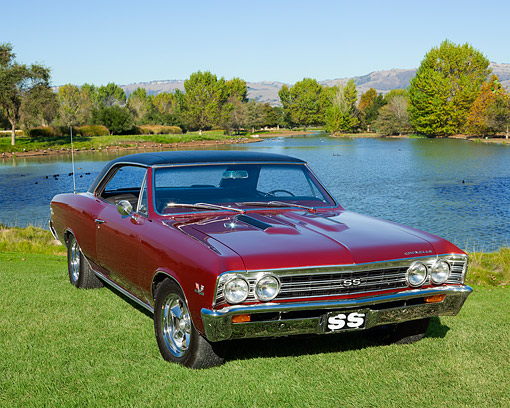 AUT 22 RK2362 01 © Kimball Stock 1967 Chevrolet Chevelle SS 396 Maroon 3/4 Front View On Grass