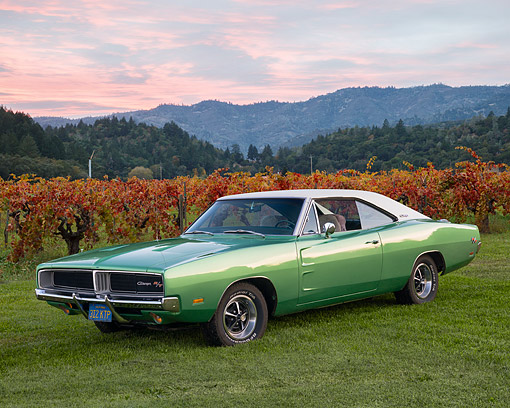 AUT 22 RK2386 01 © Kimball Stock 1969 Dodge Charger R/T Green 3/4 Front View On Grass By Vineyard At Dusk