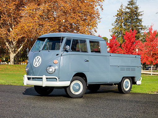 AUT 22 RK2463 01 © Kimball Stock 1966 Volkswagen Double Cab Bus Gray 3/4 Side View On Pavement By Autumn Trees