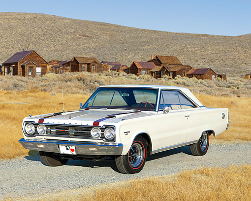AUT 22 RK2729 01 © Kimball Stock 1967 Plymouth GTX White Red Stripes 3/4 Front View On Pavement By Ghost Town