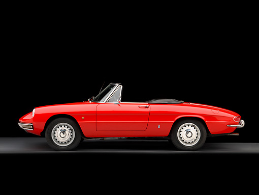 AUT 22 RK2760 01 © Kimball Stock 1966 Alfa Romeo Duetto Spider Red Profile View Studio