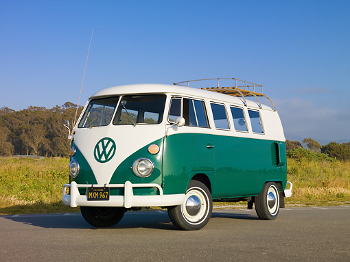 AUT 22 RK2807 01 © Kimball Stock 1964 Volkswagen Kombi Bus Green And White 3/4 Front View On Pavement By Grass
