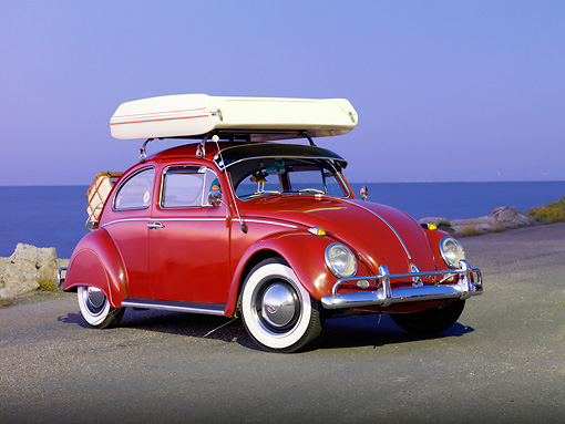 KimballStock_AUT 22 RK2828 01_preview & 1964 Volkwagen Beetle Red With Topper Tent 3/4 Front View On ...