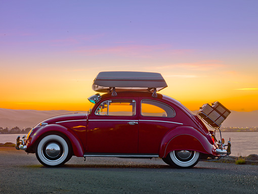 AUT 22 RK2838 01 © Kimball Stock 1964 Volkwagen Beetle Red With Topper Tent Profile View On Pavement By Ocean