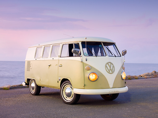 AUT 22 RK2841 01 © Kimball Stock 1964 Volkwagen EZ Camper Mango Green And White 3/4 Front View On Pavement By Ocean