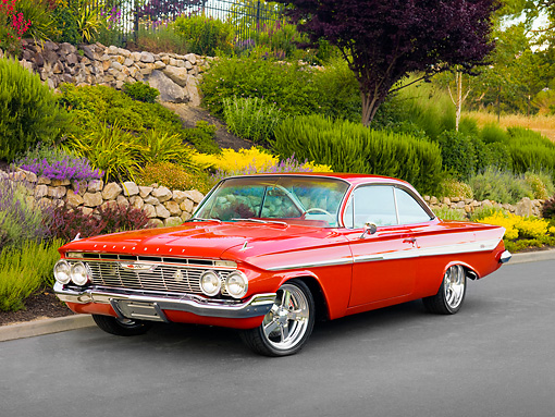 AUT 22 RK2844 01 © Kimball Stock 1961 Chevrolet Impala SS Red 3/4 Front View On Pavement