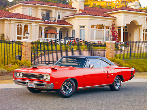 AUT 22 RK2869 01 © Kimball Stock 1969 Dodge Coronet R/T Red 3/4 Front View On Pavement By House