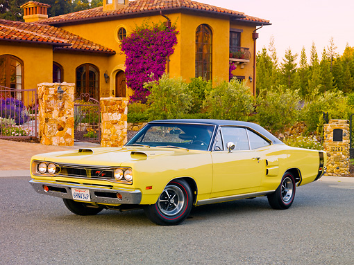 AUT 22 RK2870 01 © Kimball Stock 1969 Dodge Coronet R/T Yellow 3/4 Front View On Pavement By House