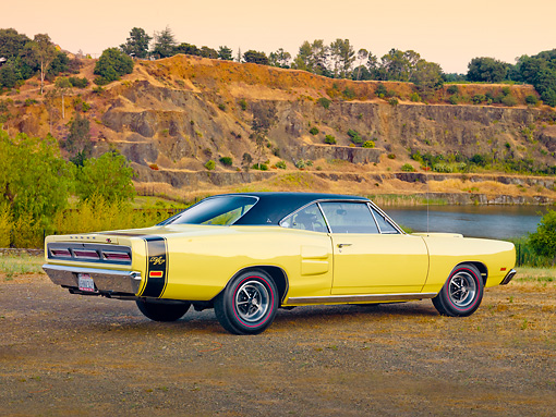 AUT 22 RK2878 01 © Kimball Stock 1969 Dodge Coronet R/T Yellow 3/4 Rear View By Lake And Hills
