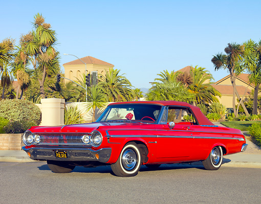 AUT 22 RK2943 01 © Kimball Stock 1964 Dodge Polara 500 Convertible Red 3/4 Front View On Pavement By Building