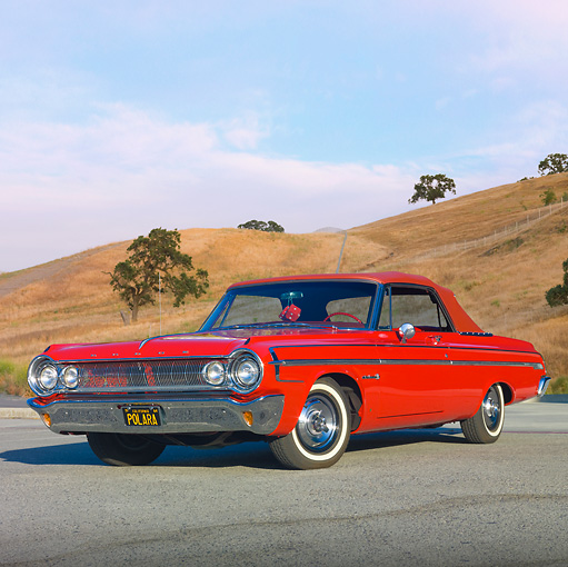 AUT 22 RK2944 01 © Kimball Stock 1964 Dodge Polara 500 Convertible Red 3/4 Front View On Pavement By Hills