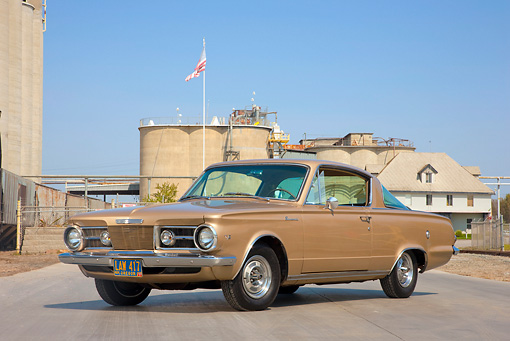 1965 Plymouth Barracuda Gold 3/4 Front View On Pavement By Building