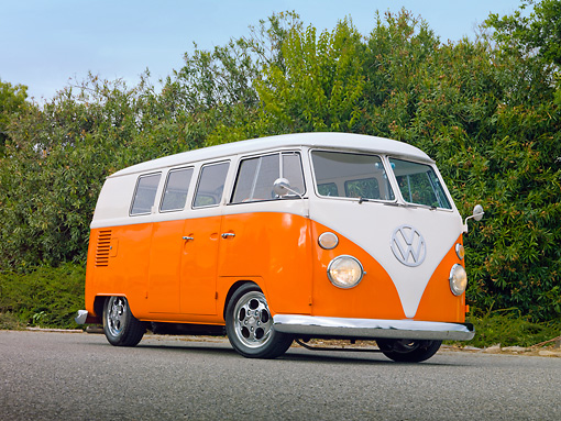 AUT 22 RK3006 01 © Kimball Stock 1965 Volkswagen Kombi Microbus Orange And White 3/4 Front View On Pavement By Trees