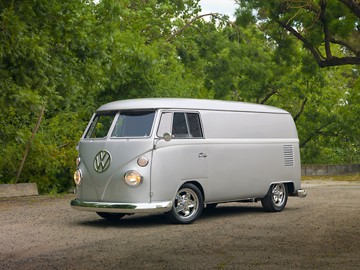 AUT 22 RK3007 01 © Kimball Stock 1967 Volkswagen Panel Van Silver 3/4 Front View On Dirt Road By Trees