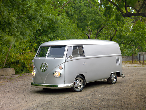 AUT 22 RK3008 01 © Kimball Stock 1967 Volkswagen Panel Van Silver 3/4 Front View On Dirt Road By Trees