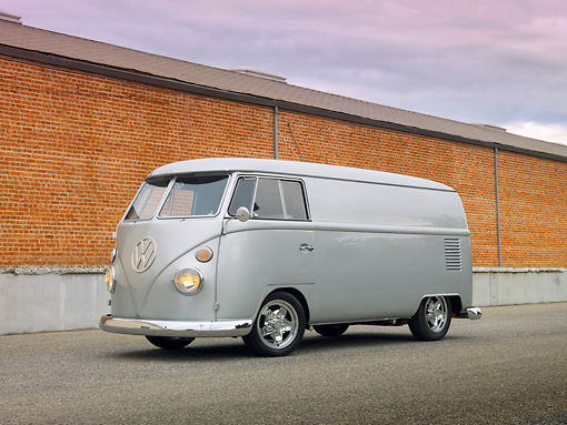 AUT 22 RK3010 01 © Kimball Stock 1967 Volkswagen Panel Van Silver 3/4 Front View On Pavement By Brick Wall
