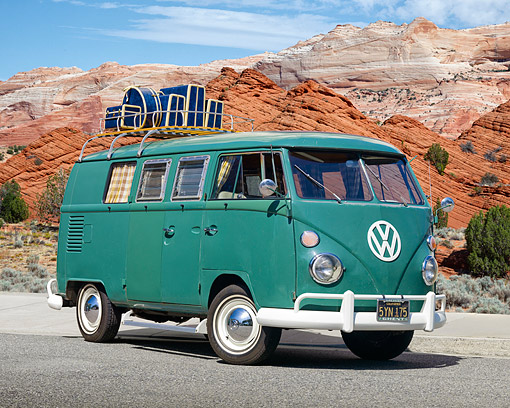 AUT 22 RK3017 01 © Kimball Stock 1967 VW Type II S042 Microbus Velvet Green 3/4 Front View On Pavement By Red Rock