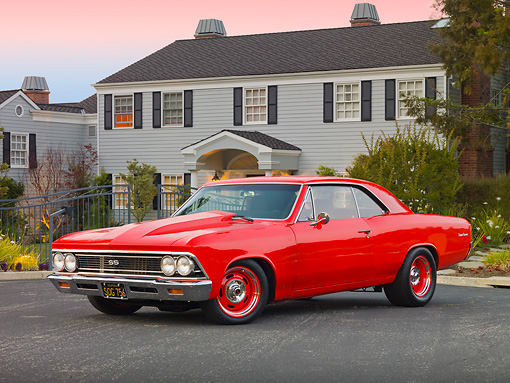 AUT 22 RK3076 01 © Kimball Stock 1966 Chevrolet Chevelle Red 3/4 Front View On Pavement By House
