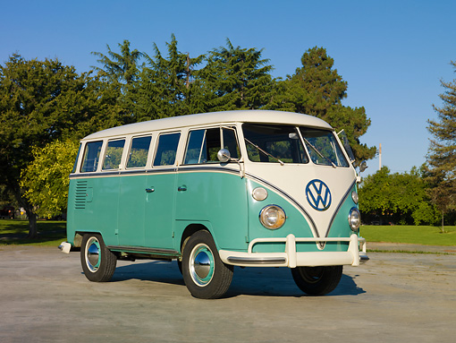 AUT 22 RK3092 01 © Kimball Stock 1963 VW Deluxe Bus Turquoise And White 3/4 Front View On Pavement By Grass And Trees