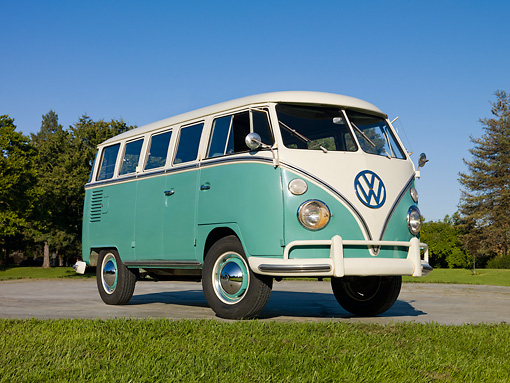 AUT 22 RK3093 01 © Kimball Stock 1963 VW Deluxe Bus Turquoise And White 3/4 Front View On Pavement By Grass And Trees