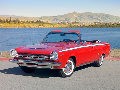 AUT 22 RK3121 01 © Kimball Stock 1964 Dodge Dart GT Convertible Red 3/4 Front View On Pavement By Water