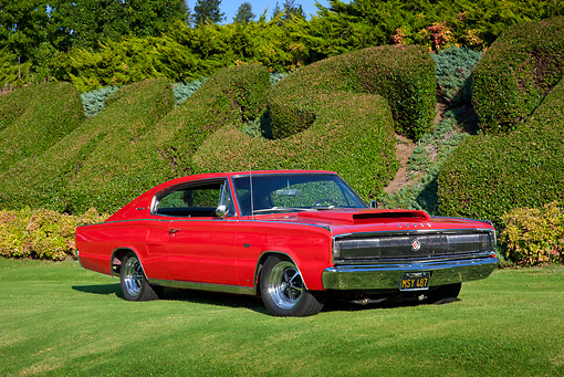 AUT 22 RK3128 01 © Kimball Stock 1967 Dodge Charger Red 3/4 Front View On Grass
