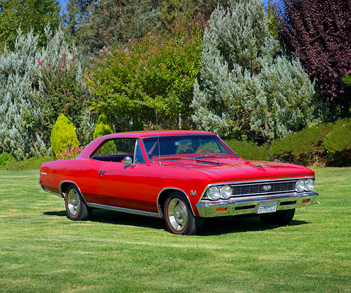 AUT 22 RK3140 01 © Kimball Stock 1966 Chevrolet Chevelle SS 396 Red 3/4 Front View On Grass By Trees
