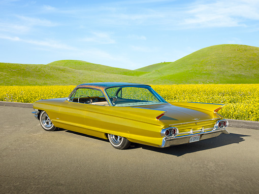 AUT 22 RK3187 01 © Kimball Stock 1961 Cadillac Coupe de Ville Gold 3/4 Rear View On Pavement By Grassy Hills And Wildflowers